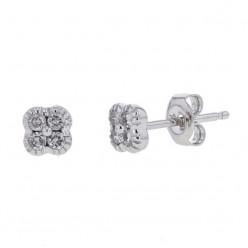 Boucles d'oreilles trèfles avec diamants PM  en or blanc - Stella