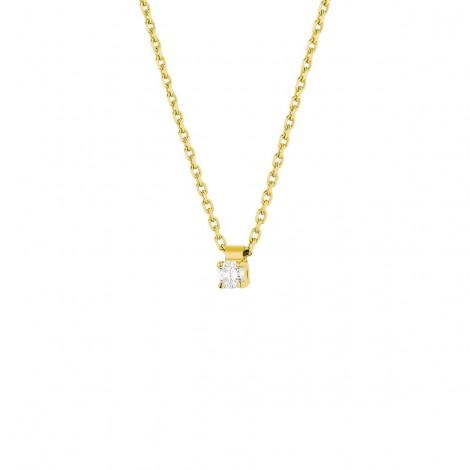 Collier clou diamant monté sur quatre griffes  en or jaune - Carrie