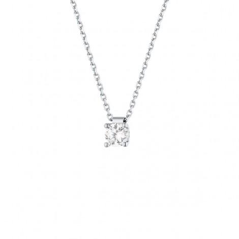 Collier clou diamant monté sur quatre griffes  en or blanc - Carrie