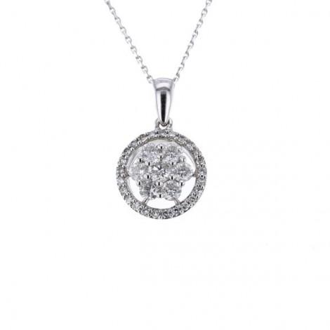 Collier multi-pierres diamants entourage sertis griffes  en or blanc - Cisca