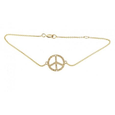 """Bracelet chaîne """"Peace and love"""" diamants en or jaune - Fifille"""