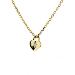Collier coeur cadenas avec diamants en or jaune - Jill