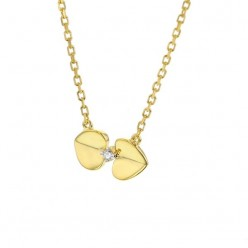 Collier coeur diamants en or jaune - Geminie