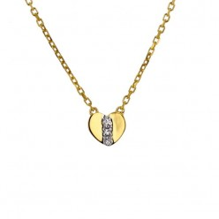 Collier coeur diamants en or jaune - Kenna