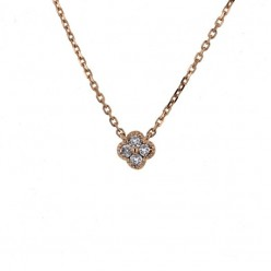 Collier trèfles avec diamants PM en or rose - Stella