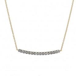 Collier barrette sertie diamants montée sur chaîne en or jaune - Noblesse