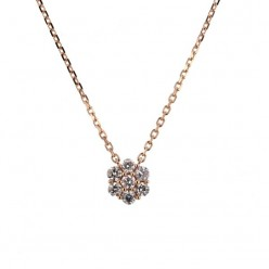 Collier multi-pierres diamants chaîne en or rose - Orlando