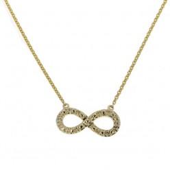 Collier chaîne Infinity avec diamants en or jaune - Fifille