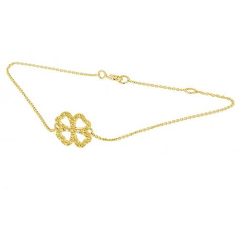 """Bracelet chaîne """"Trèfle porte bonheur"""" diamants en or jaune - Fifille"""