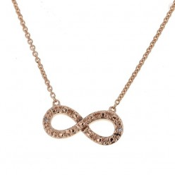 Collier chaîne Infinity avec diamants en or rose - Fifille