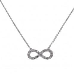 Collier chaîne Infinity avec diamants en or blanc - Fifille