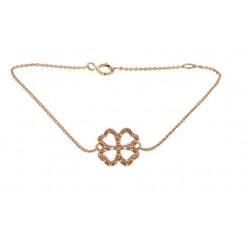 """Bracelet chaîne """"Trèfle porte bonheur"""" diamants en or rose - Fifille"""