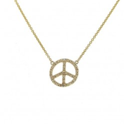 "Collier chaîne ""Peace and love"" et diamants en or jaune - Fifille"