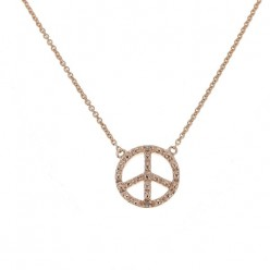 "Collier chaîne ""Peace and love"" et diamants en or rose - Fifille"
