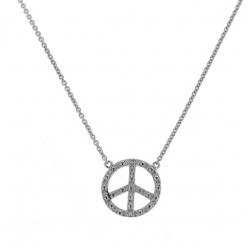 "Collier chaîne ""Peace and love"" et diamants en or blanc - Fifille"