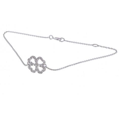 """Bracelet chaîne """"Trèfle porte bonheur"""" diamants en or blanc - Fifille"""