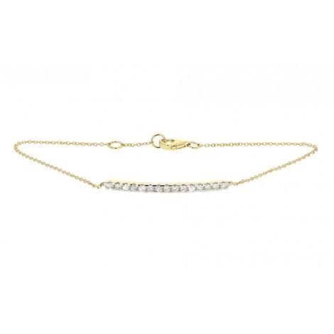 Bracelet barrette sertie diamants montée sur chaîne en or jaune - Noblesse