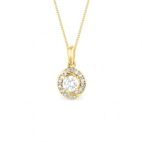 Pendentif solitaire diamant accompagné sertis grains  en or jaune - Alsh