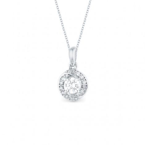 Pendentif solitaire diamant accompagné sertis grains  en or blanc - Alsh