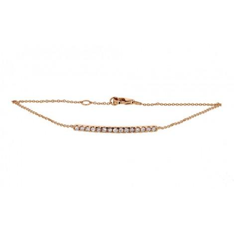 Bracelet barrette sertie diamants montée sur chaîne en or rose - Noblesse