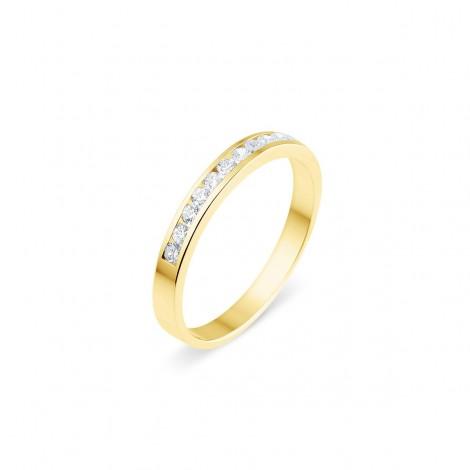 Alliance semi-empierrée diamants sertis entre deux rails en or jaune - Guelia