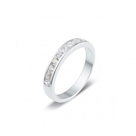 Alliance semi-empierrée diamants sertis entre deux rails en or blanc - Guelia