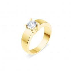 Solitaire moderne diamant serti sur quatre griffes  en or jaune - Luba