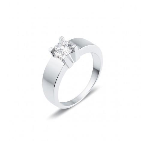 Solitaire moderne diamant serti sur quatre griffes  en or blanc - Luba