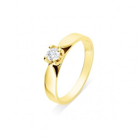 """Solitaire diamant monté sur chaton """"U"""" quatre griffes  en or jaune - Elza"""