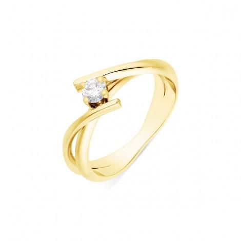 Solitaire rubans croisés diamant serti sur quatre griffes en or jaune - Venera