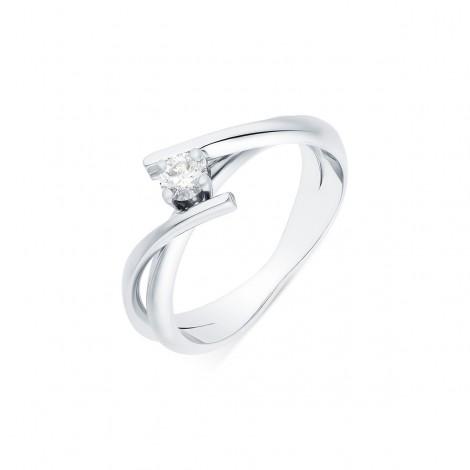 Solitaire rubans croisés diamant serti sur quatre griffes en or blanc - Venera