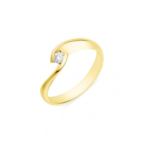 Solitaire torsadé diamant serti demi-clos  en or jaune - Lilia