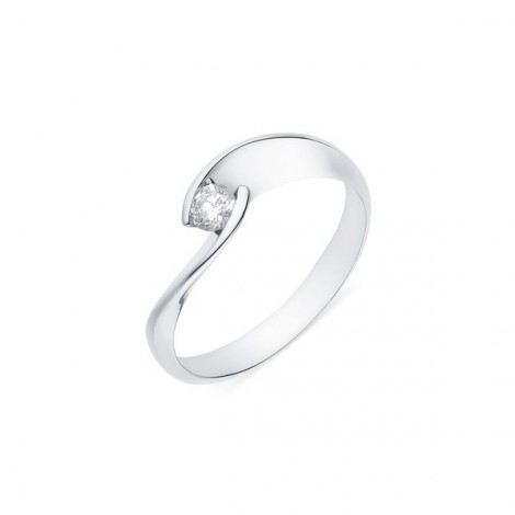 Solitaire torsadé diamant serti demi-clos  en or blanc - Lilia
