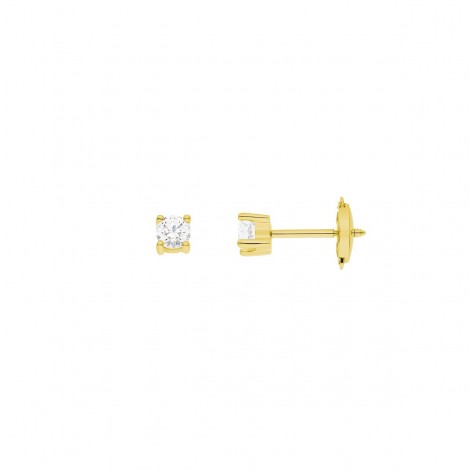 Boucles d'oreilles clous, diamants montés quatre griffes en or jaune - Ennia