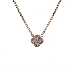Collier trèfles avec diamants GM en or rose - Stella