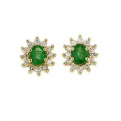 Boucles d'oreilles émeraudes avec entourage de diamants  en or jaune - Errel