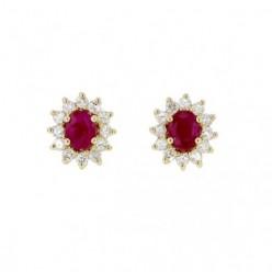 Boucles d'oreilles rubis avec entourage de diamants  en or jaune - Errel