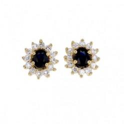 Boucles d'oreilles saphirs avec entourage de diamants  en or jaune - Errel