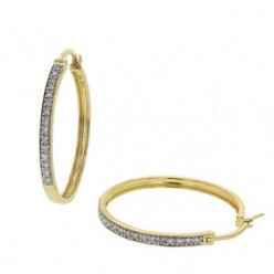 Boucles d'oreilles créoles pavées de diamants en or jaune - Eolia