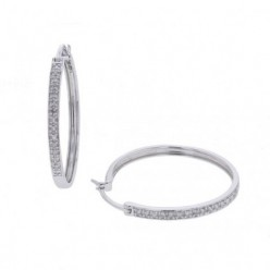Boucles d'oreilles créoles pavées de diamants en or blanc - Eolia
