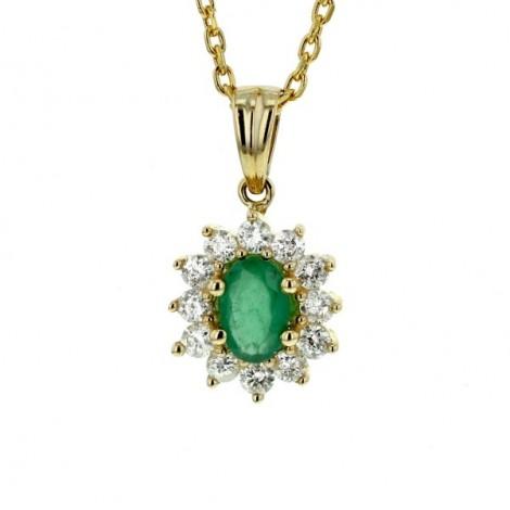 Pendentif emeraude entourage de diamants   en or jaune - Errel