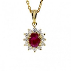Pendentif rubis entourage de diamants   en or jaune - Errel