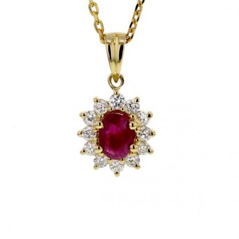 Pendentif rubis entourage de diamants   en or jaune - Errel