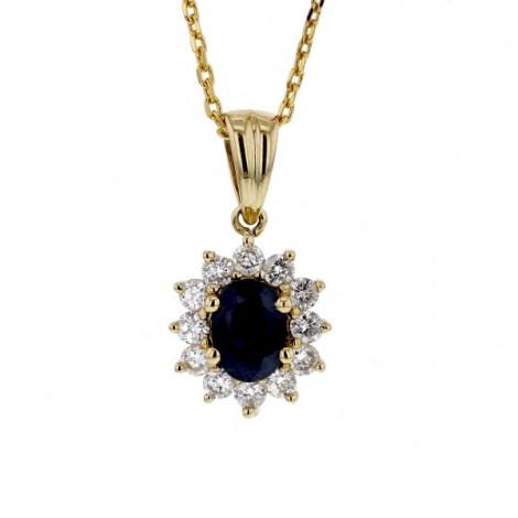 Pendentif saphir entourage de diamants   en or jaune - Errel
