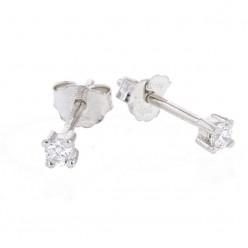 Boucles d'oreilles clous, diamants montés quatre griffes en or blanc - Ennia