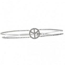 Bracelet peace&love pavé de diamants sur une chaîne en or blanc - Peace