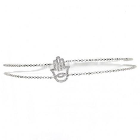 Bracelet main pavé de diamants sur deux chaînes en or blanc - Fatima