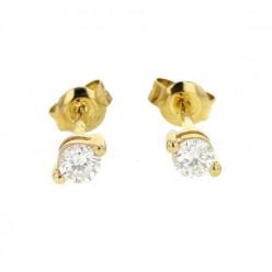 Boucles d'oreilles puces 2 griffes  en or jaune - Pompéa