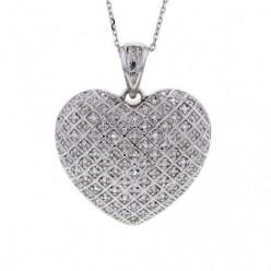 Pendentif cœur pavé diamants en argent - Litsa