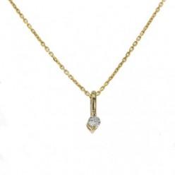 Pendentif solitaire diamants serti avec 2 griffes  en or jaune - Pompéa